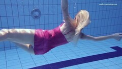 Naughty Elena Proklova underwater mermaid in pink dress Thumb