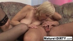 Naughty Old grandma takes a hard pussy pounding on the couch! Thumb