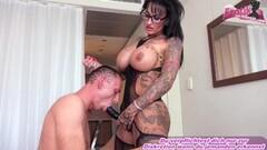 Kinky German big tits femdom milf fucks guy with strapon Thumb