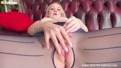 Fit blonde strips off wanks in nylon pantyhose heels Thumb