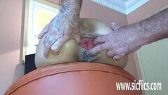 Deep Anal fisting and giant dildo fucked amateur Thumb