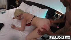 Gorgeous glam femdom bouncing on cock in closeup Thumb