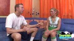 Blonde Cheerleader Cock Sucking Thumb