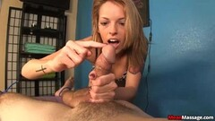 Blonde Masseuse Leaves Guy Covered in Cum Thumb