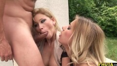 Hot Threesome with FemDom and Submissive Blonde Thumb