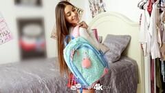 Tiny brunette student Arielle Faye fucks huge dick Thumb