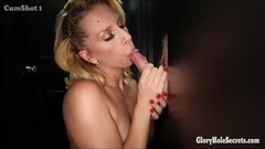 Cock craving hungry blonde in gloryhole Thumb