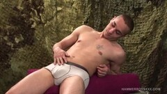 Angel Rivas gets analed by two big cocks Thumb