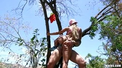 Luna Star has her pussyhole slammed up in a tree Thumb