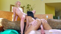 Sexy girls Isis Love and Aubrey Gold slide their pussies down a hard shaft Thumb
