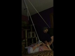 Bound blonde vibed and flogged by two intruders Thumb