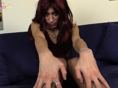 Redhead slaps her face with a big hard cock Thumb