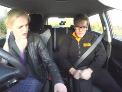 Fake Driving School Jailbird with big tits tastes examiners shaven pussy Thumb