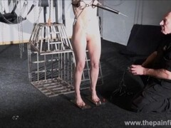 Electro bdsm and feet punishment of slave Elise Graves in dungeon tit torture and gruesome electric shock torments Thumb