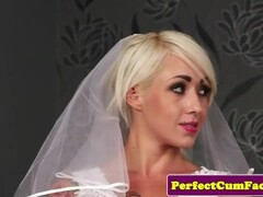 Busty British bride face covered in spunk POV Thumb