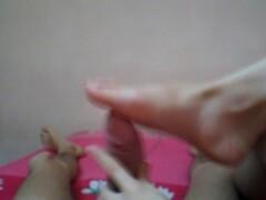 Handjob with dickhead rubbing on soles until epic cumshot Thumb