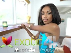Exotic4k Tiny ebony Tiffany Nunez lubes up pussy for fuck and facial Thumb