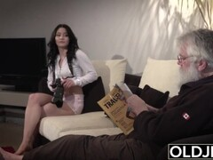 Old Young Porn Sexy Teen Fucked by old man on the couch she rides his cock Thumb
