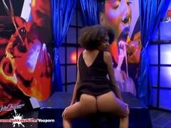 Sexy ebony Latina Luna Corazon moans in pleasure - Extreme Bukkake Thumb