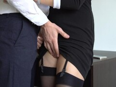 Sexy Secretary In Stockings Makes Boss Cum On Her Dress In Office Thumb