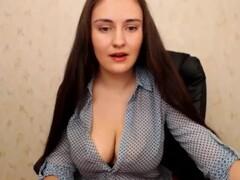 Super Sexy Long Haired Polish Hairplay, Striptease and Masturbating Thumb