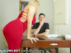 Big Tit Step MILF Sucks & Jerks Son's Big Dick B4 Daddy Sees! Thumb