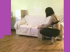 Francy crossdresser deep anal in black leggings and high heels fucked by hard dildo DOUBLE VISION.avi Thumb