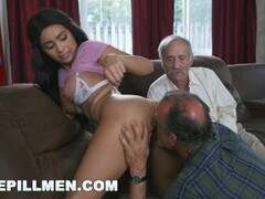 BLUE PILL MEN - Gorgeous Black Pornstar Aaliyah Hadid Takes These Old Men For A Ride! Thumb