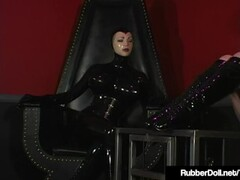 Latex Babe RubberDoll Helps Rubberella Spank Latex Slut! Thumb