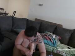 Horny Milf sucks big dildo, fucks her ass then gets facial Thumb