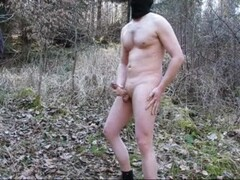Nude Masturbation in public Forest cumshot by shortthingde Thumb