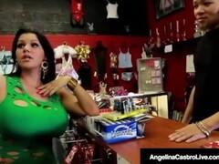Horny Latina Angelina Castro Fucks Black Cock In Adult Store Thumb