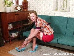 Blonde babe Lucy Lauren wanking in French vintage nylons girdle blue high fetish heels Thumb