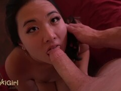 pov EPIC DEEPTHROAT Asian girl SUCKS his cock DRY Thumb