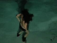 Girlfriends's backyard swimming pool underwater strip tease Thumb