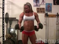 Topless Female Bodybuilder With Amazing Physique in the Gym Thumb