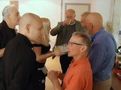 Sexy teen waitress is gangbanged by a group of grandpas at the office Thumb