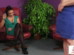 CFNM British babe instructs sub guy to jerk Thumb