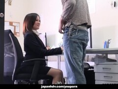 Cute brunette Ritsuko Tachibana swallows a boner in the office Thumb