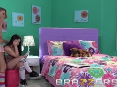 Brazzers - Cute Young Teens Katerina Kay & Lola Foxx share a big dick Thumb