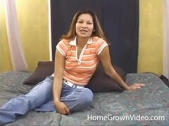 Shy Latina amateur fucking a white cock on home video Thumb