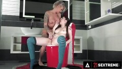 Tattooed young ebony bbc stroked til he CUMS hard Thumb