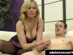 Femdom Milf Julia Ann Teases A Slave Cock With Stockings! Thumb