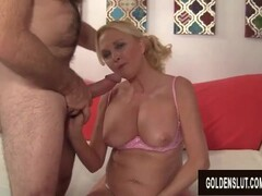 Big Tits Blonde Granny Sara Skippers Pleasures a Lucky Old Man Thumb