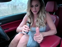ELLA SILVER Fully nude, fucks herself in public in the car! Thumb